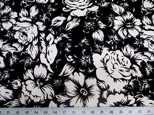 Fabric Rose Floral (Discount Fabric Printed Lycra Spandex Stretch Black White Large Rose Floral G300)