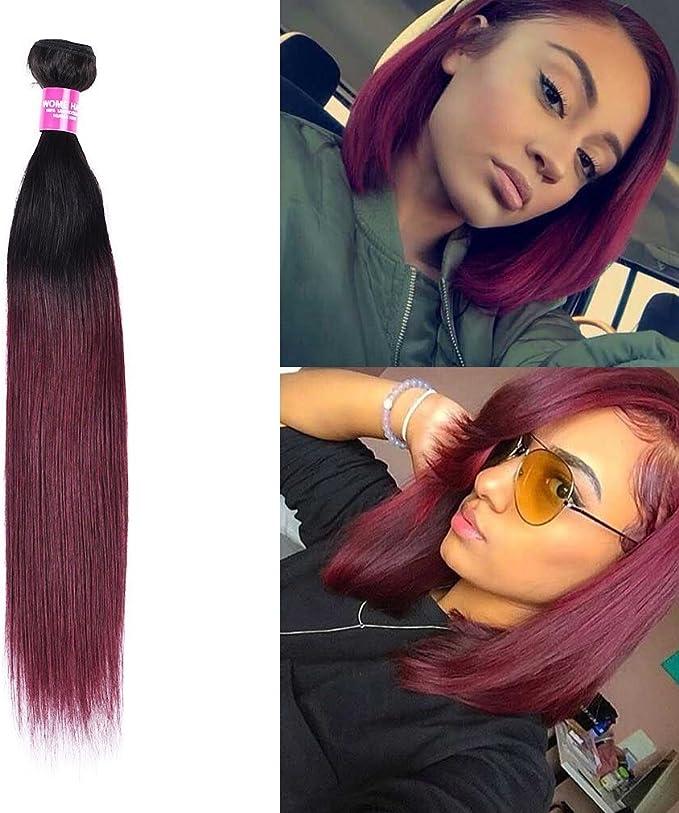 Wome Hair paquetes de cabello virgen peruano recto de dos tonos raíces oscuras Ombre Borgoña 1b/99j cabello humano Weaves