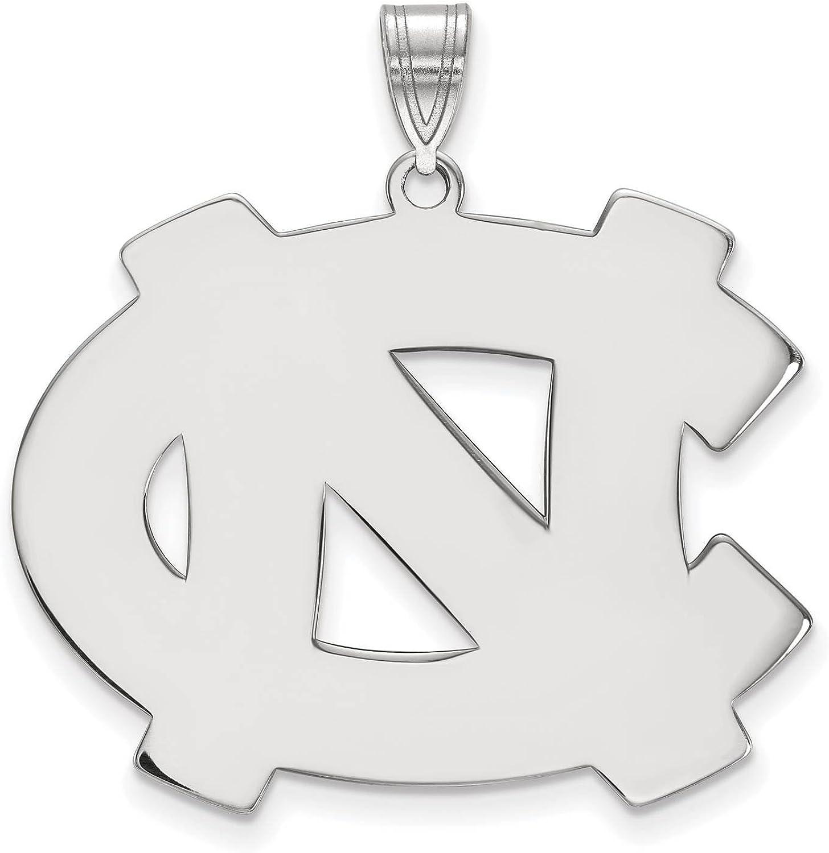 925 Sterling Silver Rhodium-plated Laser-cut University of North Carolina XL Pendant