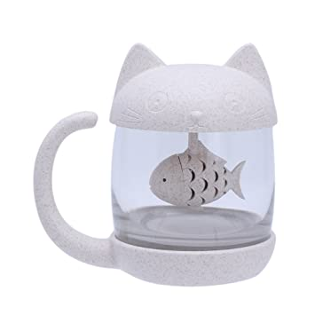 exing tazas de Reino Animal con colador tazas de té gato mono tazas creativa 250 ml charmant taza de café 400ml gato: Amazon.es: Hogar