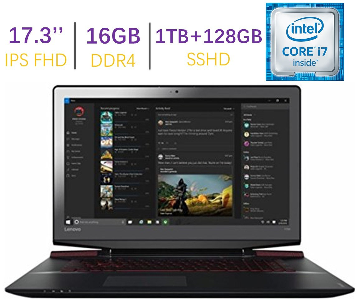 "2017 Lenovo Ideapad Y700 17.3"" Full HD IPS (1980x1080) Gaming Laptop PC | Intel Quad Core i7-6700HQ 2.6GHz | 16GB DDR4 | 1TB+128G SSD | NVIDIA GeForce GTX 960M | Backlit Keyboard | Windows 10"