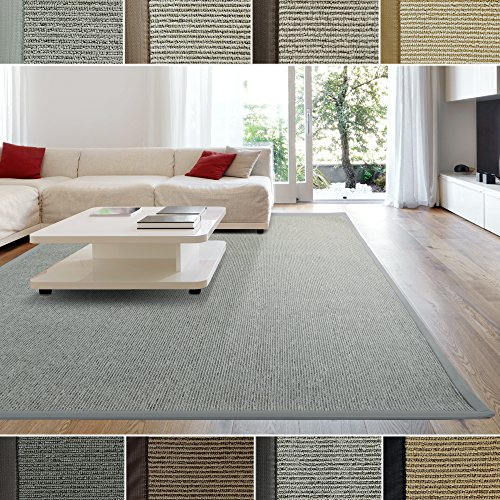 ICustomRug Zara Contemporary Synthetic Sisal Rug Softer Than Natural Stain Resistant Easy To Clean Beautiful Border In Silver Grey 5