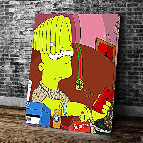 treasure keeper bart Simpson Supreme Canvas Wall Art Painting Prints Poster Framed Size 21″x 15″ Ready to Hang Home Wall Office Decoration