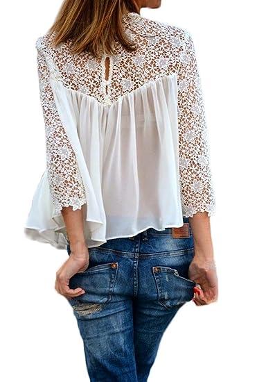 Saoye Fashion Camisas Mujer Manga Larga Blancas Elegantes Encaje Gasa Splicing Transparentes Fiesta Tops Blusa Primavera Verano Cuello Redondo Vintage ...