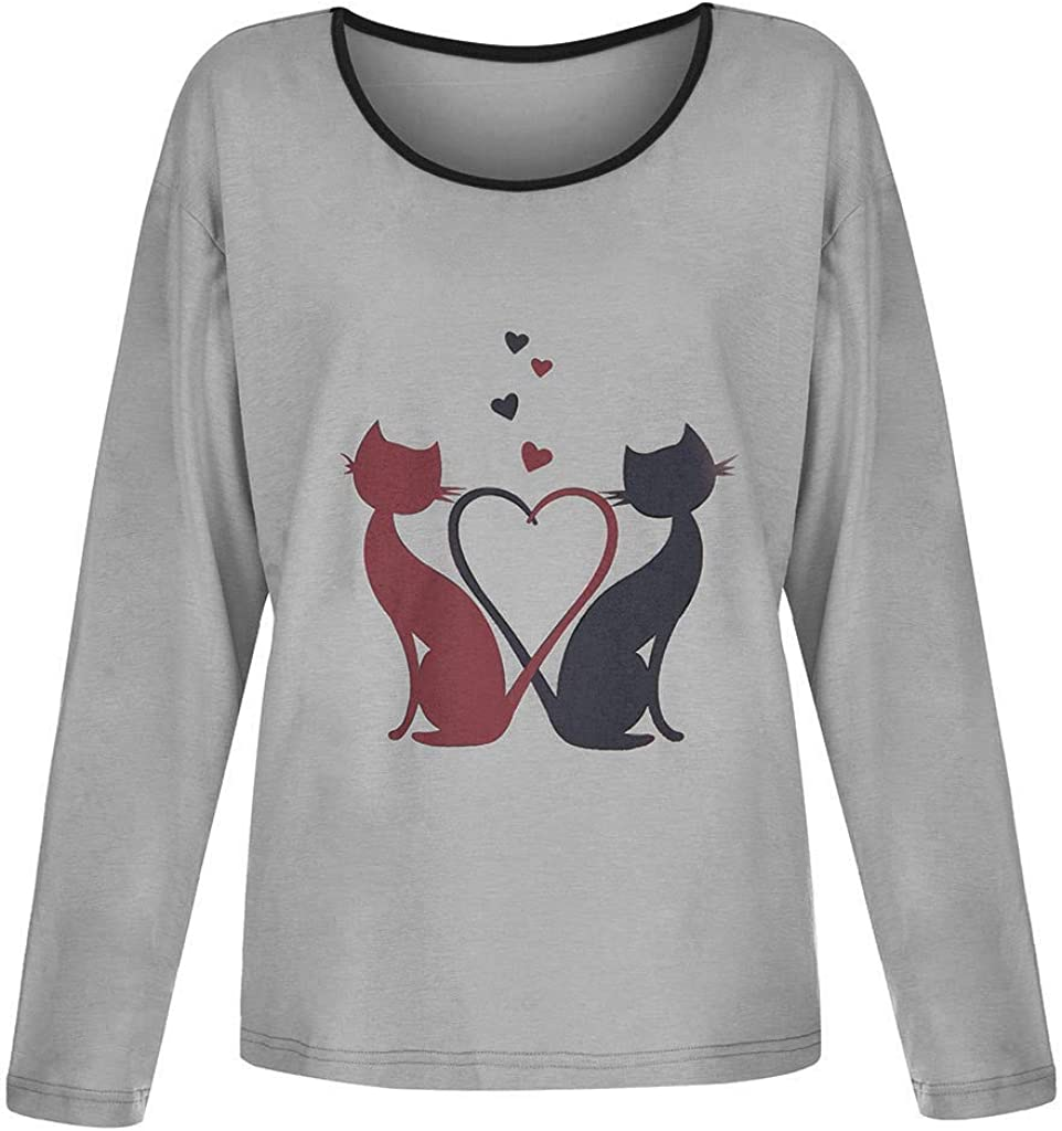 Miuye yuren-Women Tops and Blouses Long Sleeve Round Neck T Shirt Cat Graphic Tees