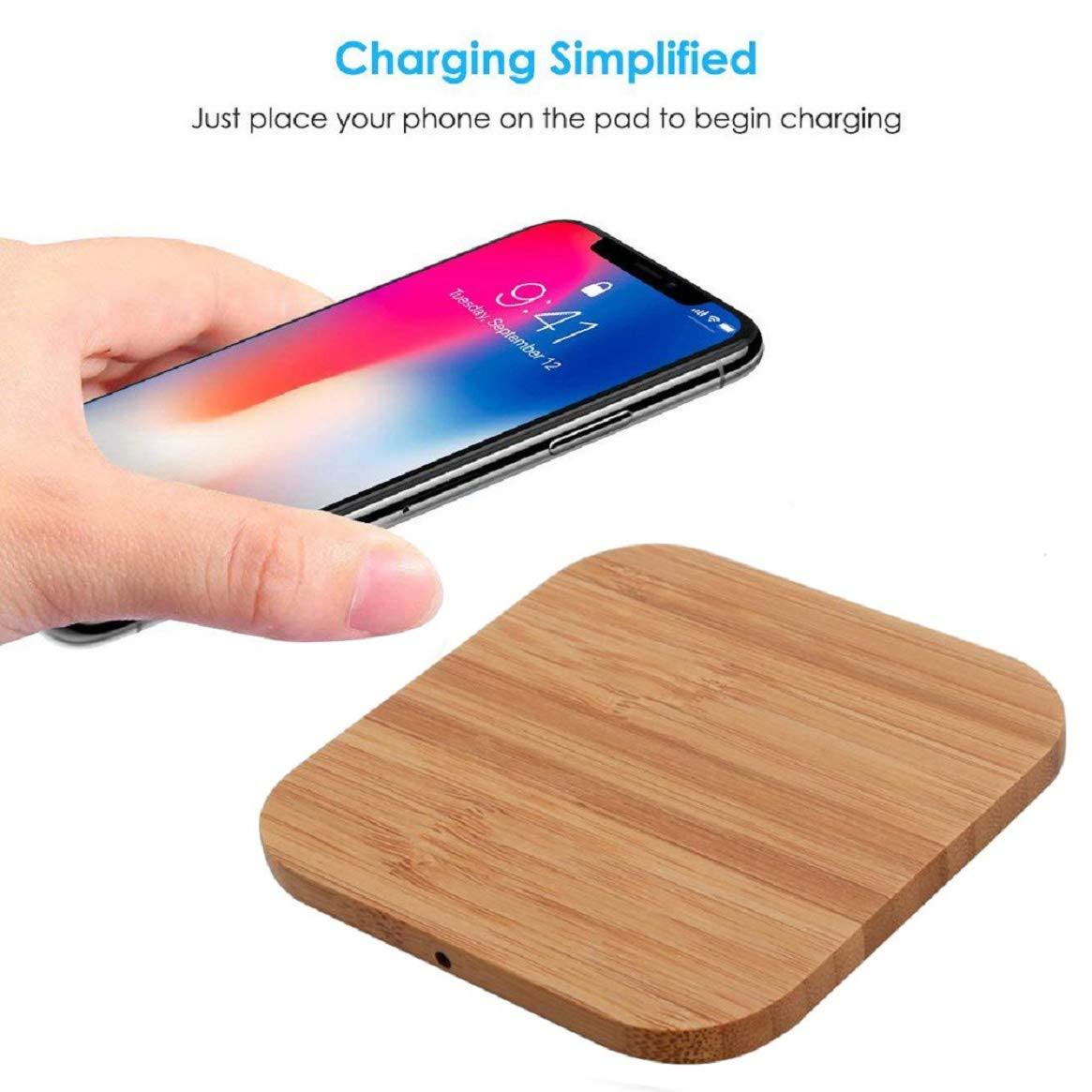 los angeles 3260c e8f0e Amazon.com: Wooden Qi Wireless Charger Mat Charging Pad for iPhone ...