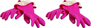 Casabella Premium Waterblock Cleaning Gloves - 2 Pair (4 Gloves) Pink - Small