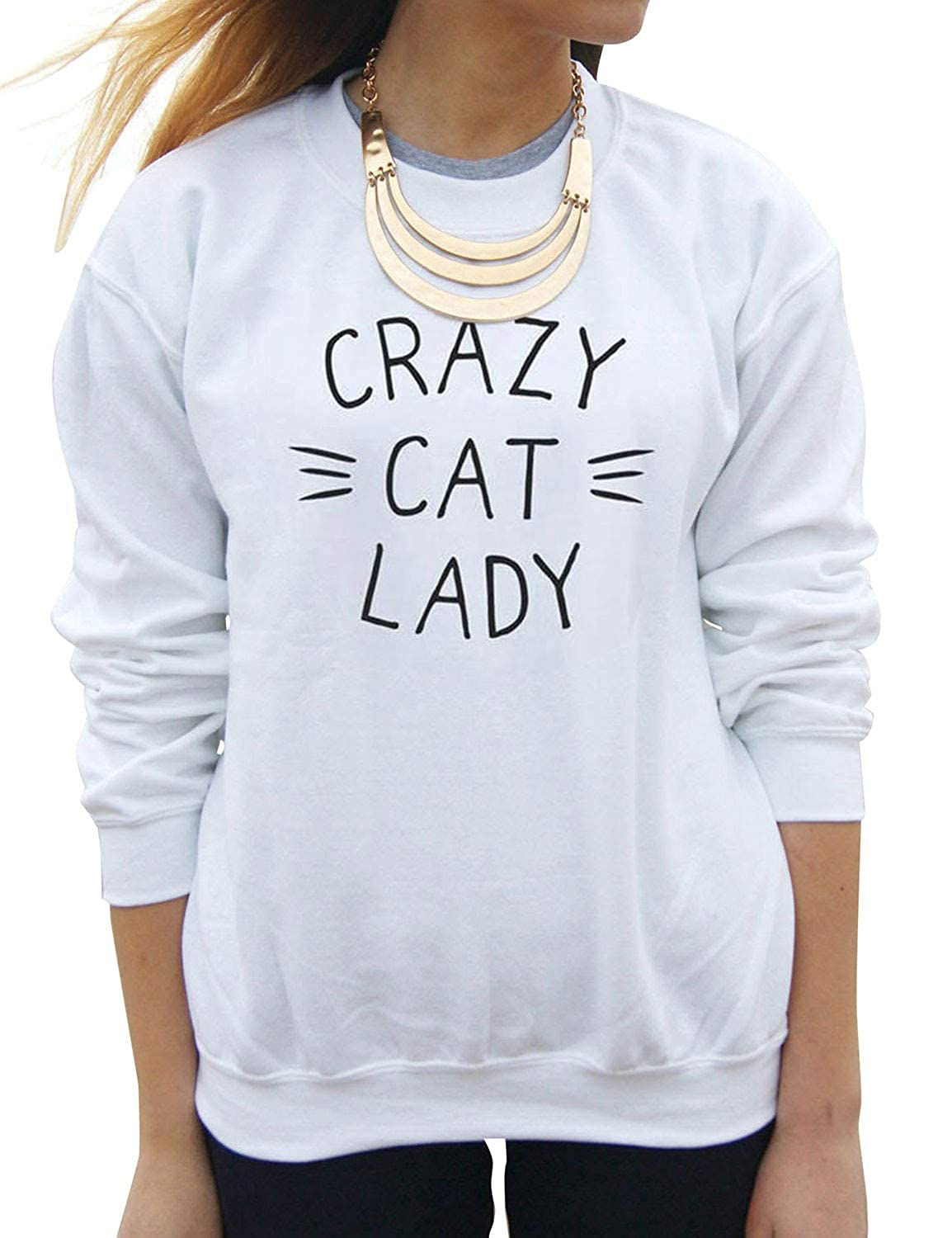 Dresswel Women Crazy CAT Lady Letter Printed Long Sleeve Tops Solid Color Pullover Sweatshirt