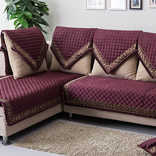 Sofa cushions, cloth seat covers of the four seasons,european anti-slip leather sofa cover-C 90x180cm(35x71inch)
