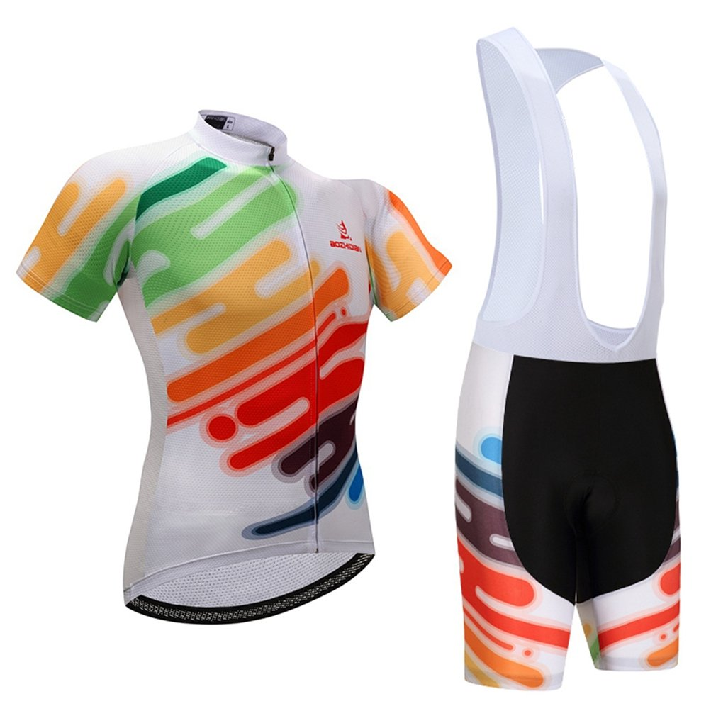 Uriah Women's Cycling Jersey Bib Shorts Sets Short Sleeve 3D Gel Padded White Style Size L(CN) by Uriah