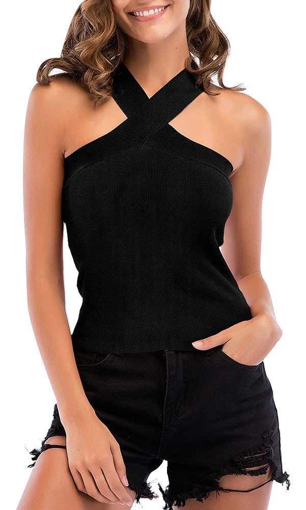 Women's Sexy Criss Cross Bandage Halter Neck Tank Top Tunic Cami Shirt, Black