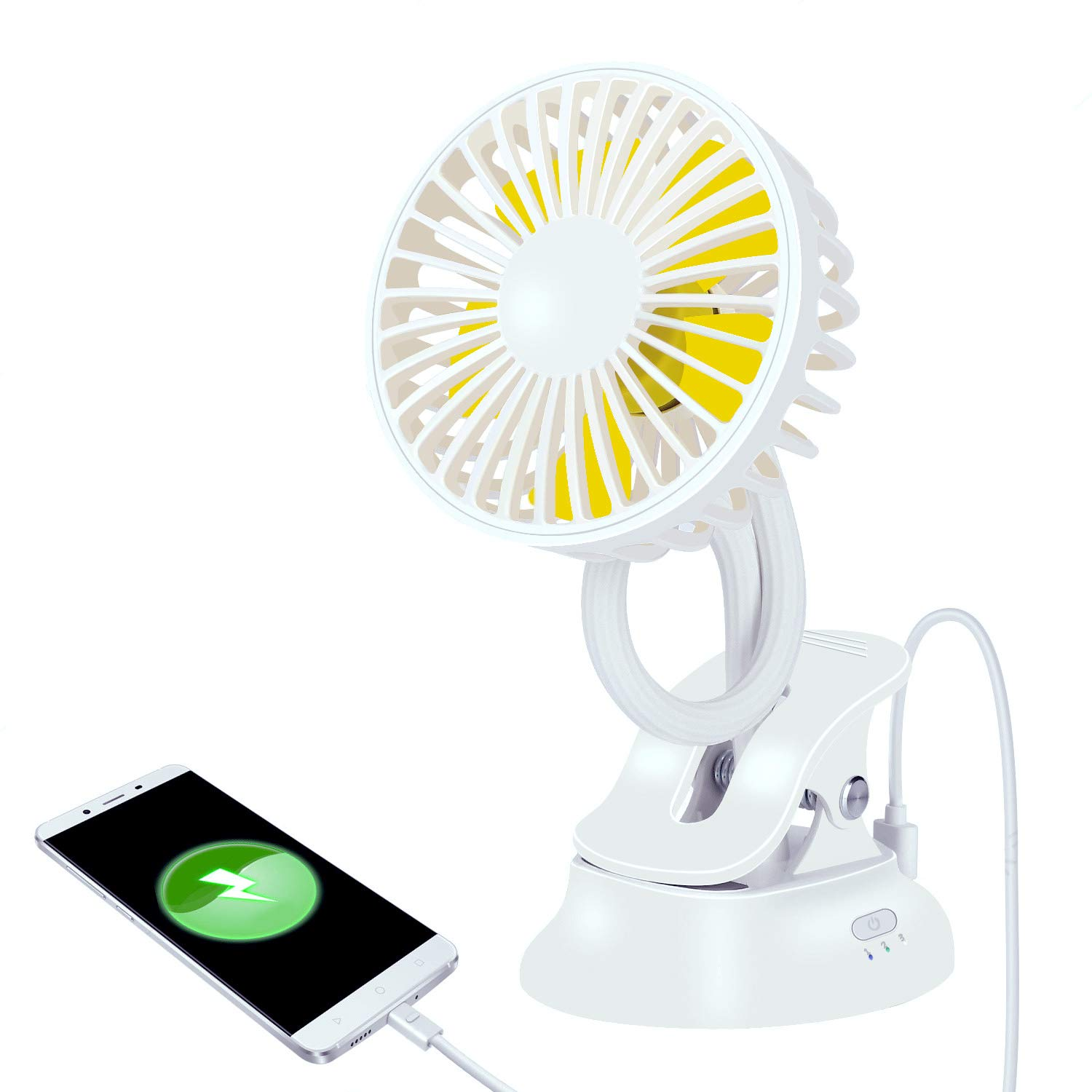 Stroller Fan Clip On Baby Mini for Carseat, T1lever 2000mAh Rechargeable Built-in Battery,Charge Phone,Portable Flexible Bent USB Clip Fan with Power Bank for Car Seat Desk Wheelchairs,Prams (White)