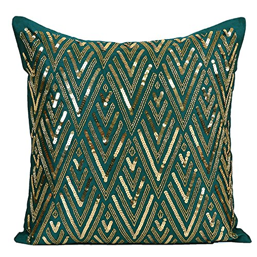 The White Petals Dark Teal Beaded Pillow Cover, Chevron Pattern (Dark Teal-Gold, 20x20 inches) ()
