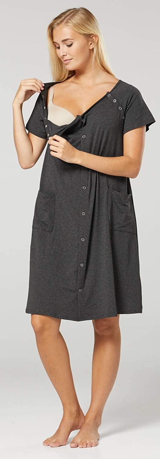 HAPPY MAMA Womens Maternity Nursing Delivery Hospital Gown Nightshirt 1029