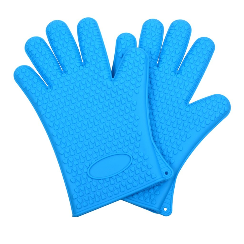 DNSJB Silicone Gloves BBQ Products Protective Gloves Microwave Oven, Heat Insulation Baking - Pair (Color : Blue)
