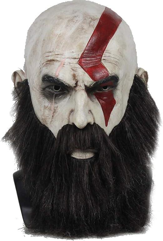 Horrgasd Máscaras De Kratos, Máscara De Dios De La Guerra, Máscara De Látex, Peluca De Halloween, Accesorios para Cosplay, Juego De Roles, Héroe De Personajes De Películas De Juegos: Amazon.es: Hogar