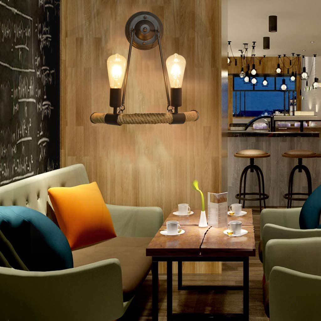 DOCJX vintage Massiv holz Kunst Laterne Bar Caf/é Restaurant-Schlafzimmer vintage Glas Wandleuchte Holz Retro Lichter rustikale Wohnzimmer Wandlampe Retro Nostalgie Wand Lampe Korridor Innenhof,B