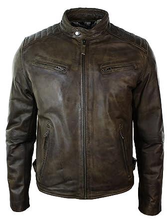3bdd02b1d6f Veste cuir véritable homme style cintré biker rétro avec fermeture éclair  couleur marron  Amazon.fr  Vêtements et accessoires
