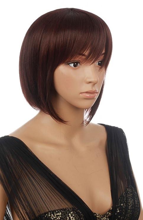 Prettyland C1225 - peluca corta de pelo corto bob corte morena marrón rojo marrón con flecos