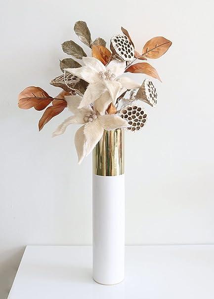 Amazon Tall Klein Ceramic Cylinder Floral Vase In White Gold