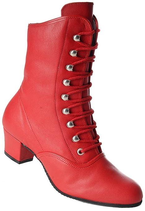 bottines danse de.caractere rouge