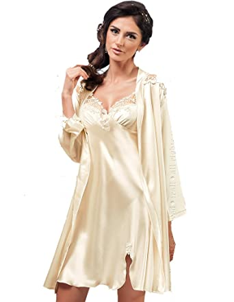 Irall Linda Cream Satin Dressing Gown at Amazon Women\'s Clothing store: