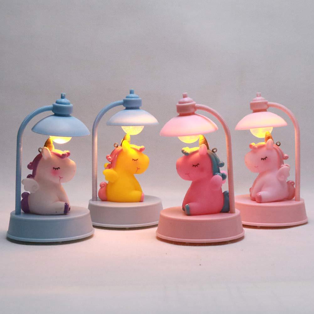 Musicale Luce Notturna LED Unicorno Lampada a Batteria per Bambini da Notte Decorativa Lampadina da Comodino Tavolo Scrivania Bianco e Rosa