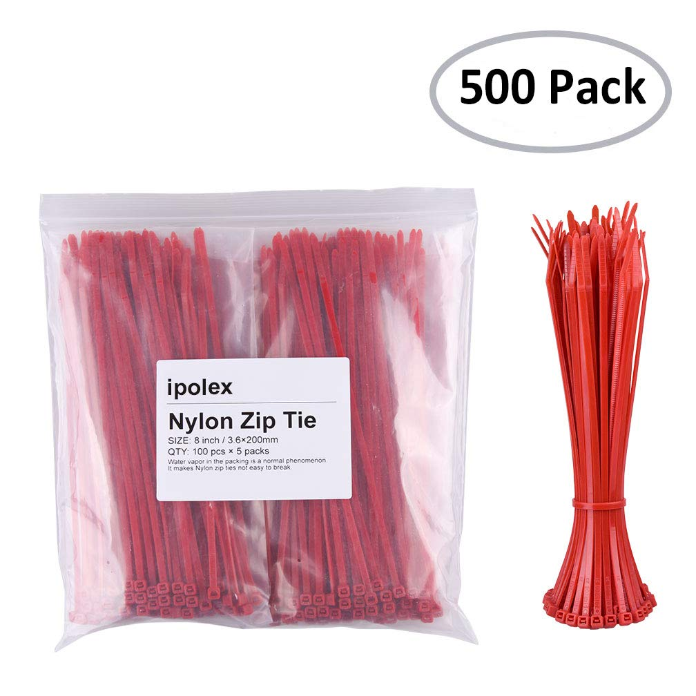 Nylon Zip Ties (Pack of 500pcs) 8 inch with Self Locking Cable Ties (Red) by ipolex