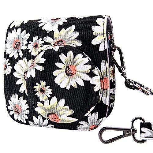 Galaxy Vintage Shoulder Bag (Fujifilm Instax Mini 8 / Mini 8 + / Mini 9 Case Bag - Wolven Designed Flower Floral Case Bag Purse For Fujifilm Instax Mini 8 / 8+ / 9 - Black Flower Floral)