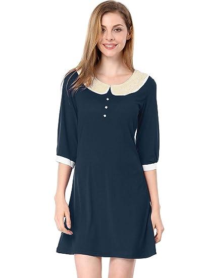 7096b1b341 Allegra K Women Peter Pan Collar 3 4 Sleeves Above Knee Shift Dress ...
