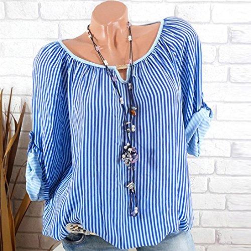 Dragon868 Forti E Camicie Taglie Manica Donna Strisce Lungo Camicie Donna Blu Estivi 5Xl Camicetta Bluse r7Cqrwg