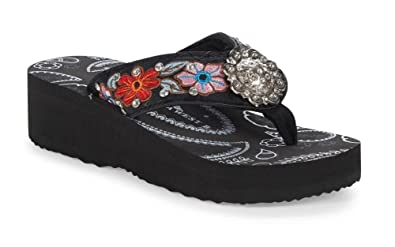ef2b08995457 Montana West Floral Flower Rhinestone Concho Flip Flops Sandals Pink Black  (6)