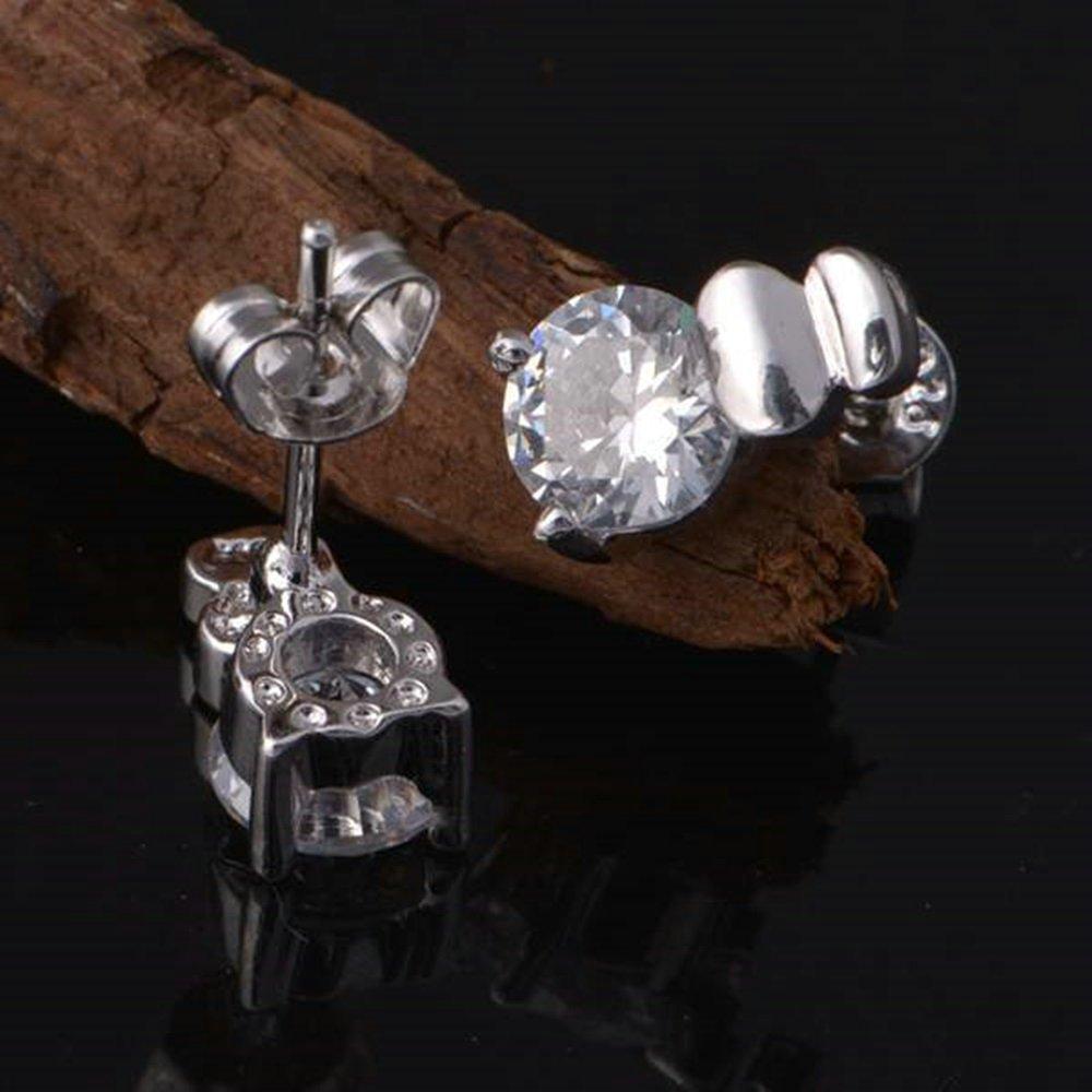 Onefeart White Gold Plated Stud Earrings for Women Girl Purple Cubic Zirconia Simple Stud Earrings 6x10MM