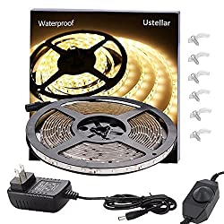 Ustellar Dimmable Waterproof Led Light Strip Kit 300 Units Smd 2835 Leds 3000k Warm White 12v Led Tape Led Ribbon 16 4ft 5m Lighting Strips With Ul Listed Power Supply