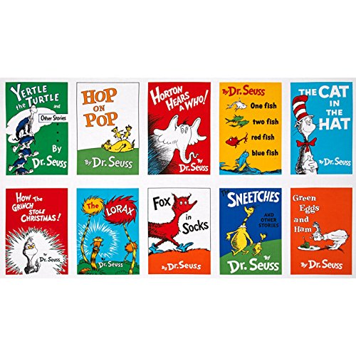 Dr. Seuss Celebrate Seuss Book Blocks 24'' Panel Adventure Fabric Cotton Fabric Book Panel