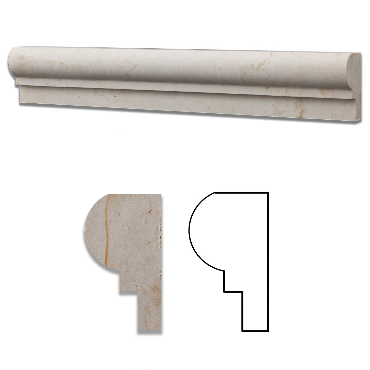 Botticino Marble Honed 2 X 12 Chair Rail Ogee-1 Molding - Standard Quality - BOX of 15 PCS