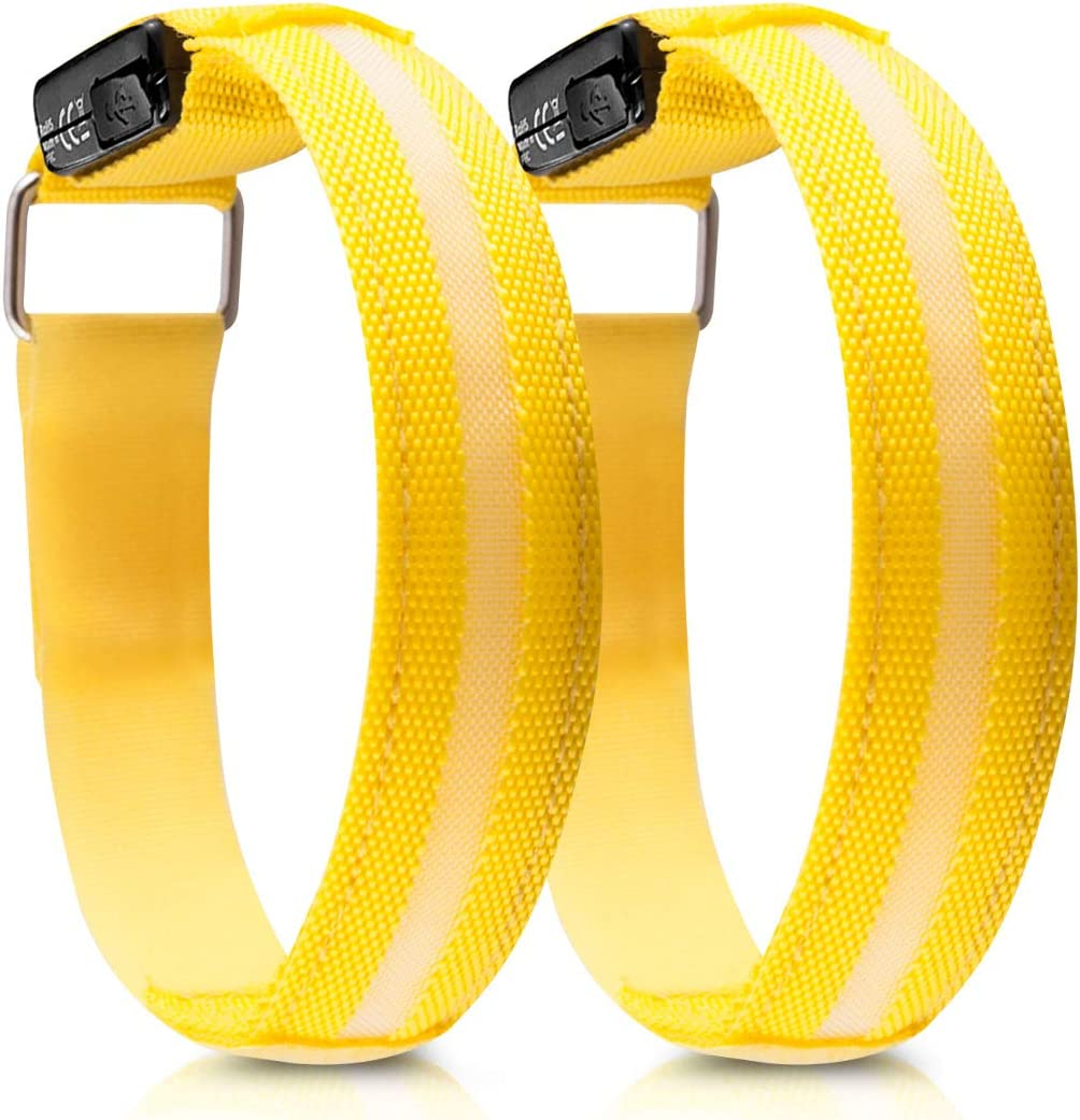 kwmobile 2x LED Safety Bands USB Rechargeable High Visibility Running Armbands with LED Lights for Cycling Hiking Jogging Biking Outdoor Sports