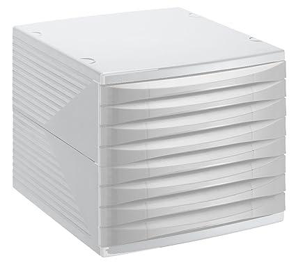 Rotho 10820Mk000 Quadra - Cajón Archivador de Oficina (8 Cajones) A4, color gris