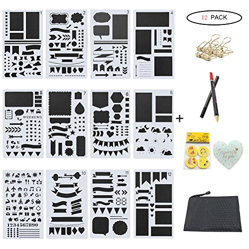 12 Piece Greeting Card (Bullet Journal Stencil Plastic Planner Stencils, YARKOR 12 Pieces DIY Drawing Template Stencil 4x7 Inch, Eraser, Binder Clips for Journaling, Mechanical Pencil and Greeting Card)