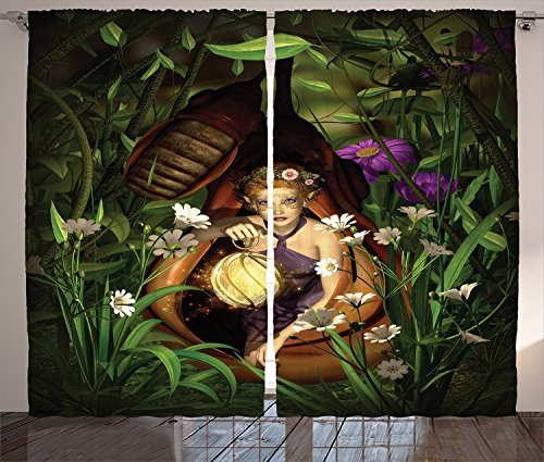 Teen Girls Decor Curtains A Female Elf Sitting With A Lantern In A Cocoon Mysterious Greenery Night Living Room Bedroom Decor 2 Panel Set,Size:2 x 54