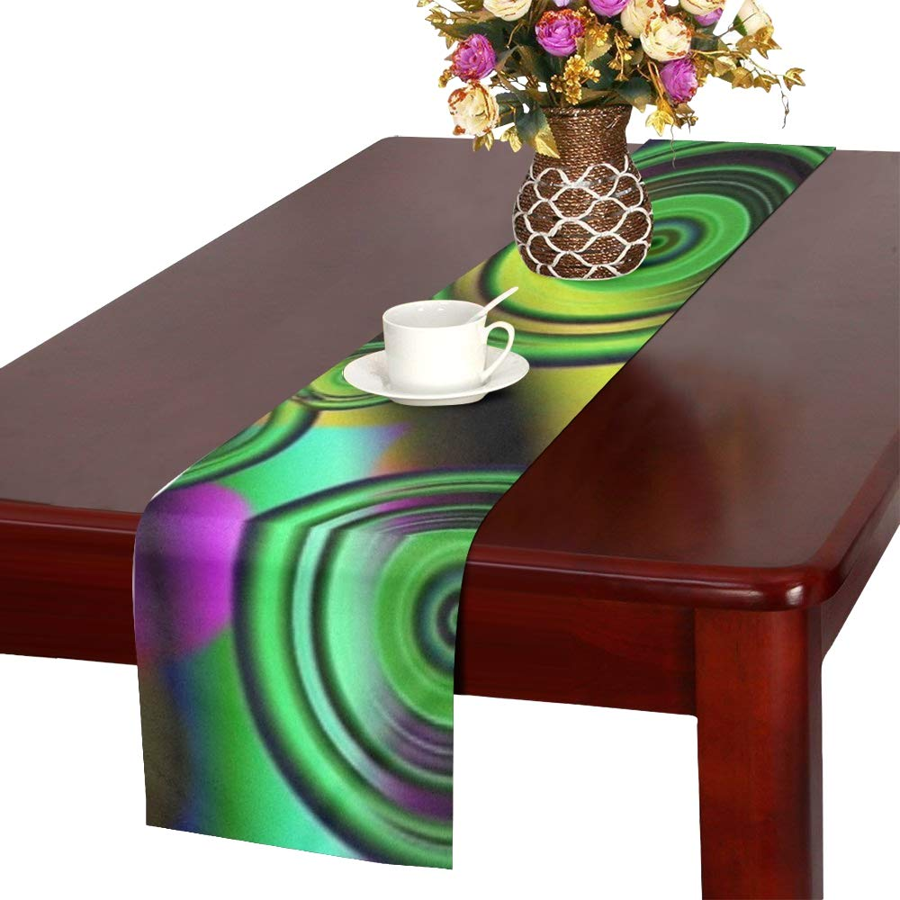 Graphic Art Circles Green Purple Abstract 1529655 Table Runner, Kitchen Dining Table Runner 16 X 72 Inch for Dinner Parties, Events, Decor
