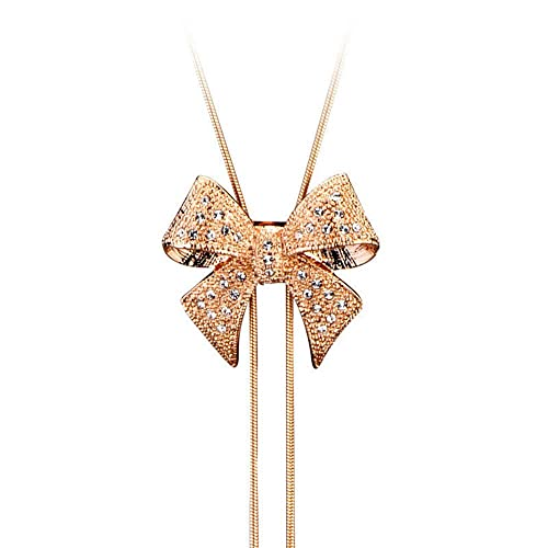 Chaomingzhen Butterfly Drangle Pendant Long Necklace Austrian Crystal Gold Plated for Women
