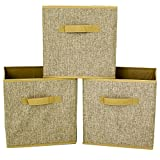 Paylak Linen Cubes Set of 3- Organizing Storage Collapsible Small Space Storage for EXPEDIT Closetmaid Bookcase Blanket Linen