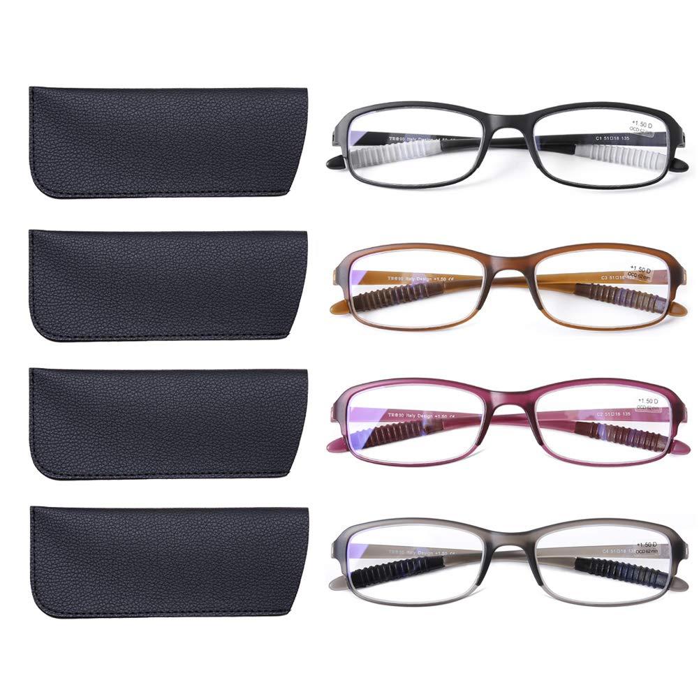 DOOViC 4 Pack Computer Reading Glasses Blue Light Blocking Anti Eyestrain Flexible Lightweight Readers for Women Men 2.0 Strength by DOOVIC