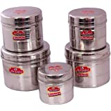 Aristo Stainless Steel Containers - 500Ml-1750Ml (5 Pieces, Silver)