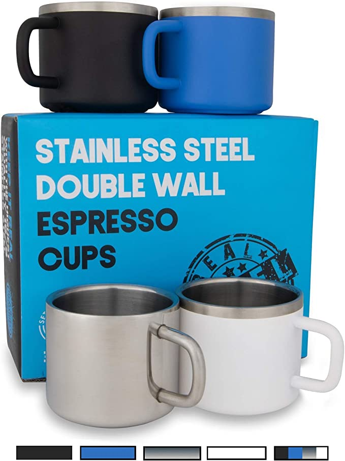 2 Pack Double Wall Stainless Steel Demitasse Cups RECAPS 170ml 304 Stainless Steel Espresso Cups Set FDA Approved