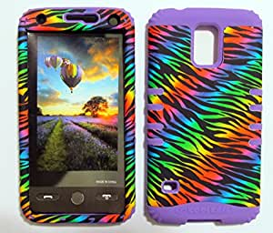 SHOCKPROOF HYBRID CELL PHONE COVER PROTECTOR FACEPLATE HARD CASE AND LIGHT PURPLE SKIN WITH STYLUS PEN. KOOL KASE ROCKER FOR SAMSUNG GALAXY S5 S V ZEBRA LP-TE163