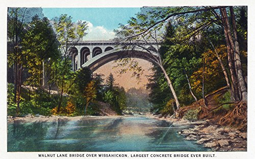 Philadelphia, Pennsylvania - Walnut Lane Bridge over Wissahickon River (12x18 SIGNED Print Master Art Print w/Certificate of Authenticity - Wall Decor Travel Poster)
