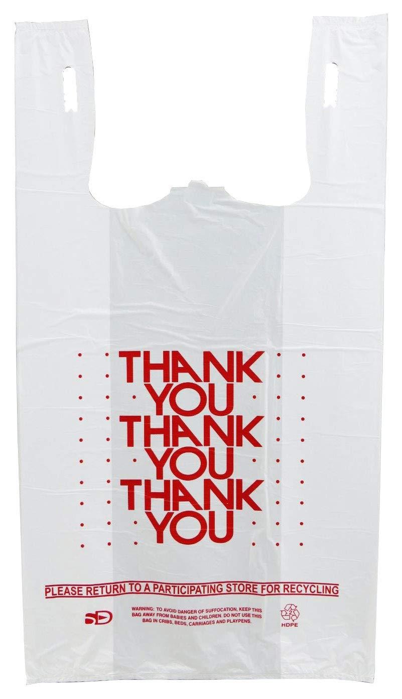 Plastic Bag- 1000 bags/cs - 'Thank You' White T Shirt Bag 11.5'x 6.5'x 21' 13 mic