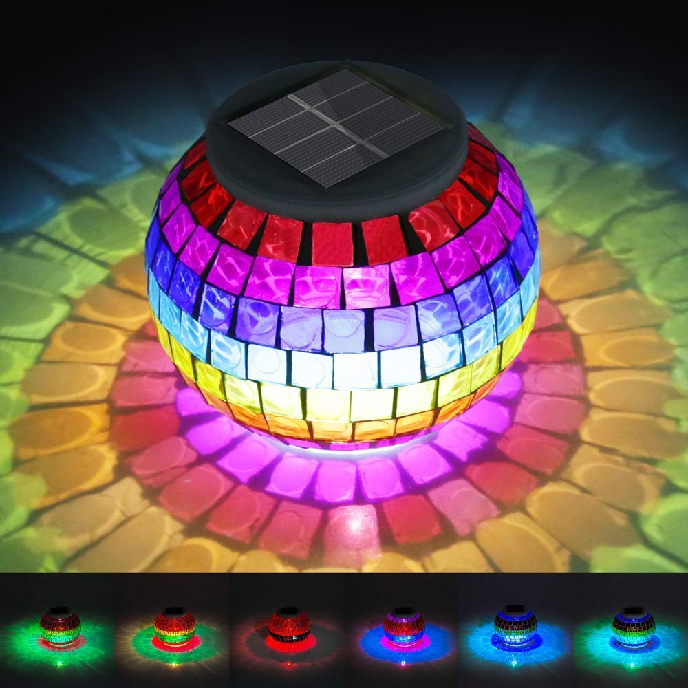 Solar Lights, New Arrival Color Changing Solar Powered Mosaic Glass Ball Led Garden Lights, EGRD Rechargeable Solar Table Lights, Outdoor Waterproof Solar Night Lights Table Lamps for Decorations Gift by EGRD